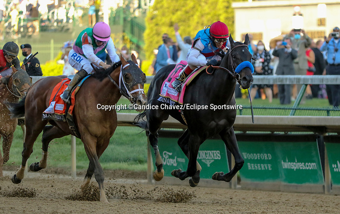 May 1, 2021 : Medina Spirit, #8, ridden by jockey John Velazquez, wins the 147th running of the Kentucky Derby on Kentucky Derby Day at Churchill Downs on May 1, 2021 in Louisville, Kentucky. Candice Chavez/Eclipse Sportswire/CSM