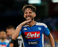 Dries Mertens of Napoli celebrates after scores during the  italian serie a soccer match,  SSC Napoli - AC Milan       at  the San  Paolo   stadium in Naples  Italy , July 12, 2020