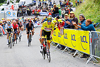 14th July 2021, Muret, France;  POGACAR Tadej (SLO) of UAE TEAM EMIRATES sprinting to victory during stage 17 of the 108th edition of the 2021 Tour de France cycling race, a stage of 178,4 kms between Muret and Saint-Lary-Soulan.
