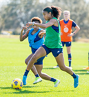 ORLANDO, FL - JANUARY 20: Margaret Purce #23 of the USWNT dribbles during a training session at the practice fields on January 20, 2021 in Orlando, Florida.