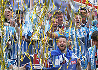 28th May 2018, Wembley Stadium, London, England;  EFL League 2 football, playoff final, Coventry City versus Exeter City; Michael Doyle of Coventry City lifts the EFL League 2 playoff trophy