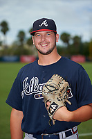 GCL Braves pitcher Jared Johnson (57) poses for a photo before a Gulf Coast League game against the GCL Orioles on August 5, 2019 at Ed Smith Stadium in Sarasota, Florida.  GCL Orioles defeated the GCL Braves 4-3 in the second game of a doubleheader.  (Mike Janes/Four Seam Images)