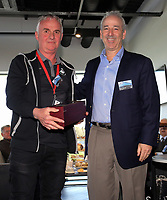 Pictured: Steve Kaplan (R) give an award to Mike Harvey Tuesday 04 April 2017<br /> Re: Official opening of the Fairwood Training Complex of Swansea City FC, Wales, UK