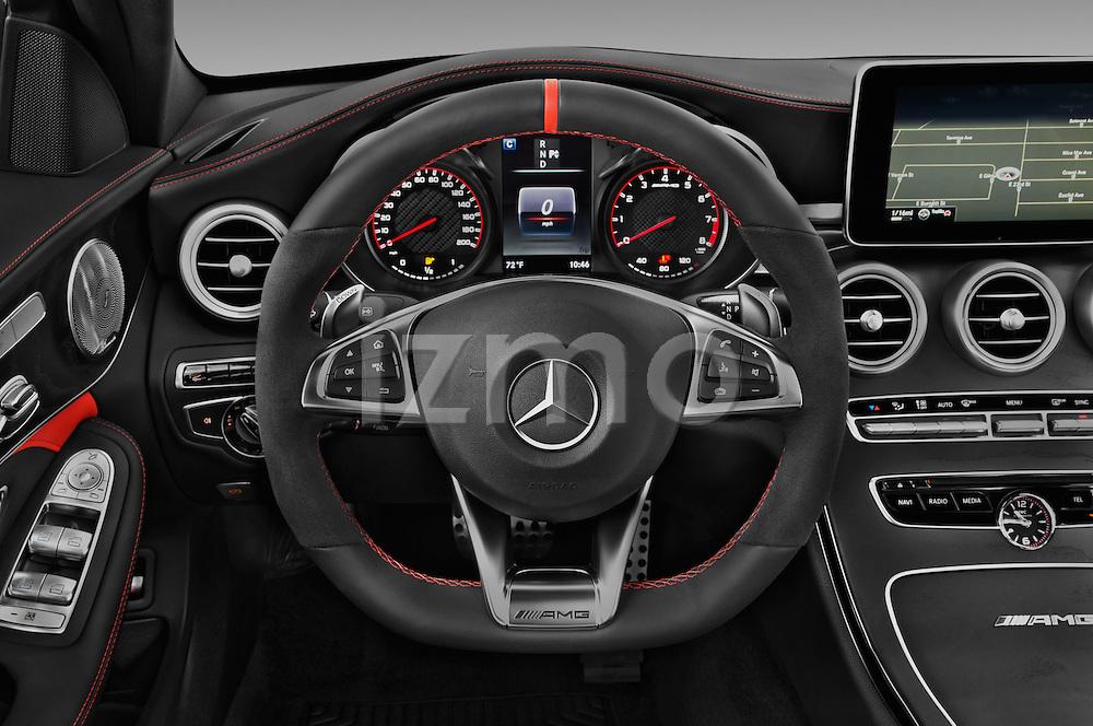 Car pictures of steering wheel view of a 2016 Mercedes Benz C-Class AMG-C63-S 4 Door Sedan Steering Wheel