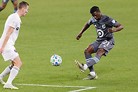 ST PAUL, MN - NOVEMBER 4: Bakaye Dibassy #21 of Minnesota United FC kicks the ball during a game between Chicago Fire and Minnesota United FC at Allianz Field on November 4, 2020 in St Paul, Minnesota.