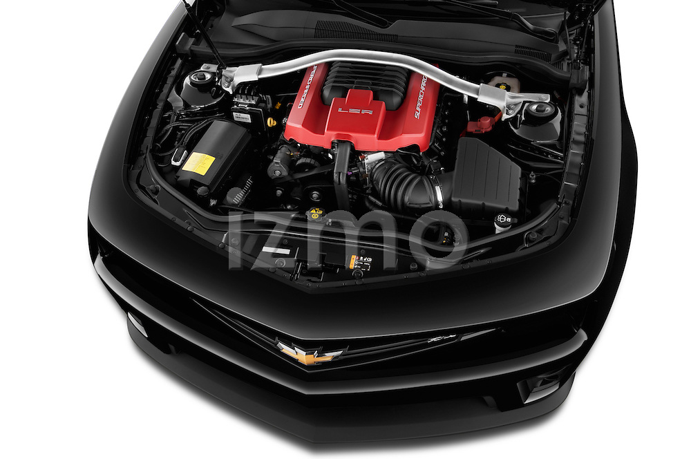 High angle engine detail of a  2013 Chevrolet Camaro Convertible ZL1 5a