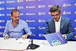 Getafe CF's President Angel Torres (l) with the CEO of the new Premium Plus Partner Libertex, Michael Geiger, during its official presentation.  August 9, 2019. (ALTERPHOTOS/Acero)