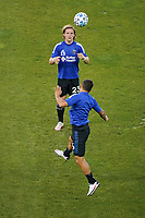 SAN JOSE, CA - SEPTEMBER 19: Florian Jungwirth #23 of the San Jose Earthquakes during warmups before a game between Portland Timbers and San Jose Earthquakes at Earthquakes Stadium on September 19, 2020 in San Jose, California.