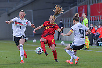 Belgian Janice Cayman (11) and German Lea Schuller (7) pictured during a friendly female soccer game between the national teams of Germany and  Belgium , called the Red Flames  in a pre - bid tournament called Three Nations One Goal with the national teams from Belgium , The Netherlands and Germany towards a bid for the hosting of the 2027 FIFA Women's World Cup , on Sunday 21 st of February 2021  in Aachen , Germany . PHOTO SPORTPIX.BE   SPP   STIJN AUDOOREN
