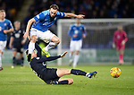 St Johnstone v Dundee….03.04.19   McDiarmid Park   SPFL<br />Ethan Robson tackles Chris Kane<br />Picture by Graeme Hart. <br />Copyright Perthshire Picture Agency<br />Tel: 01738 623350  Mobile: 07990 594431