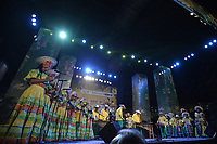 CALI - COLOMBIA. 14-08-2019: Un grupo de músca autóctona hace su presentación durante el primer día del XXIII Festival de Música del Pacífico Petronio Alvarez 2019 el festival cultural afro más importante de Latinoamérica y se lleva acabo entre el 14 y el 19 de agosto de 2019 en la ciudad de Cali. / A group makes its performance of autochthonous music during the XXII Pacific Music Festival Petronio Alvarez 2019 that is the most important afro descendant cultural festival of Latin America and takes place between August 14 and 19, 2019, in Cali city. Photo: VizzorImage/ Gabriel Aponte / Staff