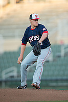 Hagerstown Suns starting pitcher Matthew DeRosier (33) in action against the Kannapolis Intimidators at Kannapolis Intimidators Stadium on May 4, 2016 in Kannapolis, North Carolina.  The Intimidators defeated the Suns 7-4.  (Brian Westerholt/Four Seam Images)