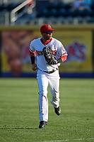 Harrisburg Senators right fielder Yadiel Hernandez (12) jogs to the dugout during a game against the Bowie Baysox on May 16, 2017 at FNB Field in Harrisburg, Pennsylvania.  Bowie defeated Harrisburg 6-4.  (Mike Janes/Four Seam Images)