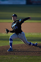 Barton Bulldogs starting pitcher Jakob Ryan (24) in action against the Queens Royals at Intimidators Stadium on March 19, 2019 in Kannapolis, North Carolina. The Royals defeated the Bulldogs 6-5. (Brian Westerholt/Four Seam Images)