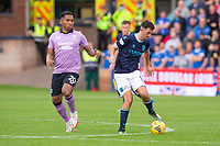 25th September 2021; Kilmac Stadium, Dundee, Scotland: Scottish Premiership football, Dundee versus Rangers; Shaun Byrne of Dundee turns away on the ball from Alfredo Morelos of Rangers