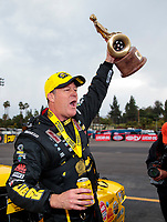 Feb 9, 2020; Pomona, CA, USA; NHRA pro stock driver Jeg Coughlin Jr celebrates after winning the Winternationals at Auto Club Raceway at Pomona. Mandatory Credit: Mark J. Rebilas-USA TODAY Sports