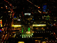 Elevated view of Alexanderplatz at night from the Fernsehturm TV tower