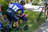 Black Spoke's Campbell Stewart helps stage winner Luke Mudgway up after the race. Masterton-Alfredton road circuit - Stage Two of 2021 NZ Cycle Classic UCI Oceania Tour in Wairarapa, New Zealand on Wednesday, 13 January 2021. Photo: Dave Lintott / lintottphoto.co.nz