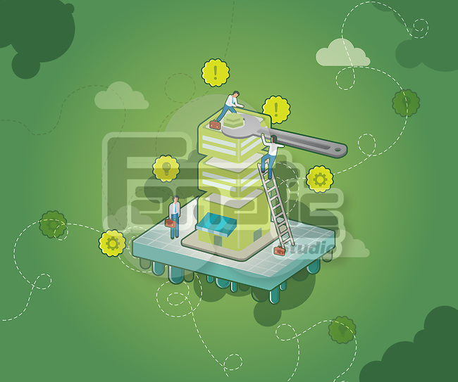 Business people fixing building with wrench over green background