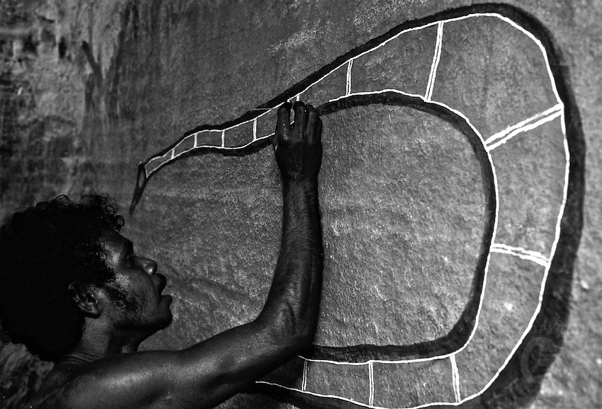 AUSTRALIA ABORIGINAL traditional  rock painting, deep inside Arnhem Land,Northern Territory