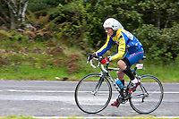 Physical Fitness.  Triathlon Cyclist, Blue Lake, Rotorua, New Zealand.