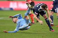 6th June 2021; AAMI Park, Melbourne, Victoria, Australia; A League Football, Melbourne Victory versus Melbourne City; Marco Tilio of Melbourne City and Leigh Broxham of the Victory collide