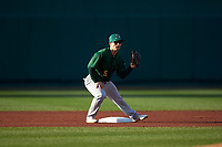 Beloit Snappers second baseman Ryan Gridley (5) during a Midwest League game against the Lansing Lugnuts at Cooley Law School Stadium on May 4, 2019 in Lansing, Michigan. Beloit defeated Lansing 2-1. (Zachary Lucy/Four Seam Images)