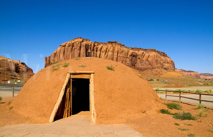 Ancient Cherokee Indian homes called hogan homes, Monument Valley, Utah, USA