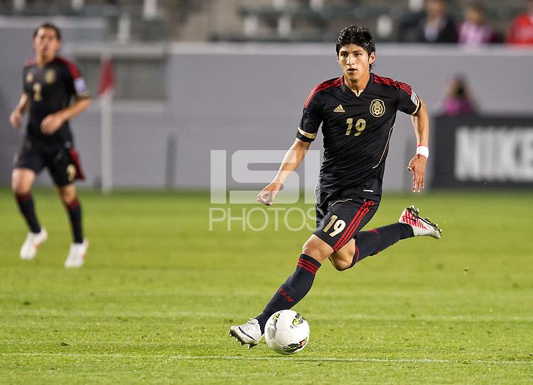 CARSON, CA - March 23, 2012: Alan Pulido (19) of Mexico during the Mexico vs Trinidad & Tobago match at the Home Depot Center in Carson, California. Final score Mexico 7, Trinidad & Tobago 1.