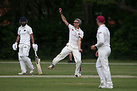 Ian Belchamber in bowling action for Brentwood during Brentwood CC (bowling) vs Harold Wood CC, Hamro Foundation Essex League Cricket at The Old County Ground on 12th June 2021