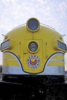 Front view shot detail of Texas Limited train engine # 200. Texas.