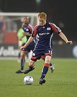 New England Revolution midfielder/defender Jeff Larentowicz (13) shoots. The New England Revolution tied the Colorado Rapids, 1-1, at Gillette Stadium on May 16, 2009.