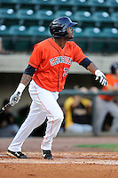 First baseman Yonathan Mejia (36) of the Greeneville Astros bats in a game against the Bristol Pirates on Friday, July 25, 2014, at Pioneer Park in Greeneville, Tennessee. Greeneville won, 9-4. (Tom Priddy/Four Seam Images)