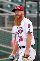 Lansing Lugnuts Brock Whittlesey (26) during a weather delay before a game against the West Michigan Whitecaps on August 24, 2021 at Jackson Field in Lansing, Michigan.  (Mike Janes/Four Seam Images)