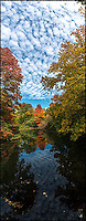 A quiet corner of Central Park in full disply of Fall colors with cottan-like cloud reflection.