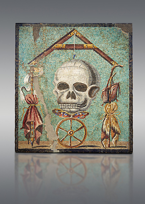 "Roman mosaic of a skull called ""Mimento Mori"" from Pompeii, inv 100982, Naples National Archeological Museum, Grey Art background"