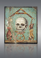 """Roman mosaic of a skull called """"Mimento Mori"""" from Pompeii, inv 100982, Naples National Archeological Museum, Grey Art background"""