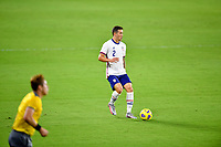 ORLANDO CITY, FL - JANUARY 31: Aaron Herrera #2 of the United States chases down a loose ball during a game between Trinidad and Tobago and USMNT at Exploria stadium on January 31, 2021 in Orlando City, Florida.