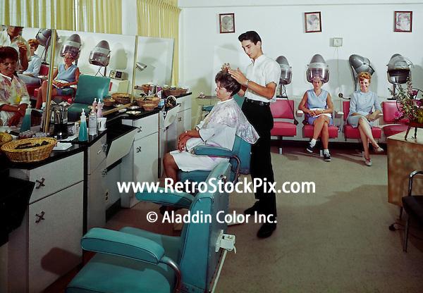 Pan American Motel, Wildwood, NJ.  Ladies in the Beauty Parlor. 1960's. -   09
