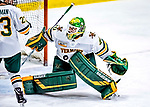 26 January 2019:  University of Vermont Catamount Goaltender Stefanos Lekkas, a Junior from Elburn, IL, makes a third period save against the Merrimack College Warriors at Gutterson Fieldhouse in Burlington, Vermont. The Catamounts defeated the Warriors 4-3 in overtime to take both games of their weekend America East conference series. Mandatory Credit: Ed Wolfstein Photo *** RAW (NEF) Image File Available ***