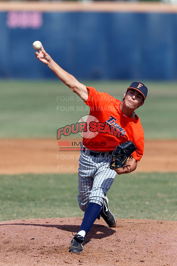 Ryan Kayoda of the Cal State Fullerton Titans pitches during a intrasquad game at Goodwin Field on October 13, 2013 in Fullerton, California. (Larry Goren/Four Seam Images)