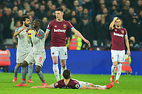 Naby Keita of Liverpool is penalised for a challenge on Robert Snodgrass of West Ham United during West Ham United vs Liverpool, Premier League Football at The London Stadium on 4th February 2019