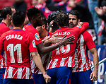 Diego Costa of Atletico de Madrid celebrates with teammates during the La Liga 2017-18 match between Atletico de Madrid and Getafe CF at Wanda Metropolitano on January 06 2018 in Madrid, Spain. Photo by Diego Gonzalez / Power Sport Images