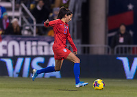 COLUMBUS, OH - NOVEMBER 07: Christen Press #23 of the United States takes a shot during a game between Sweden and USWNT at Mapfre Stadium on November 07, 2019 in Columbus, Ohio.