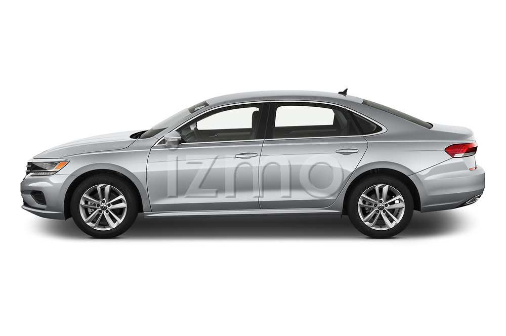 Car Driver side profile view of a 2020 Volkswagen Passat SE 4 Door Sedan Side View