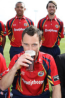 James Foster of Essex CCC enjoys a sip of beer - Essex CCC Press Day at the Ford County Ground, Chelmsford, Essex - 03/04/12 - MANDATORY CREDIT: Gavin Ellis/TGSPHOTO - Self billing applies where appropriate - 0845 094 6026 - contact@tgsphoto.co.uk - NO UNPAID USE.
