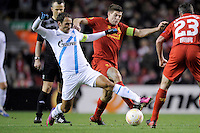 21.02.2013 Liverpool, England. Steven Gerrard of Liverpool in action during the Europa League game between Liverpool and Zenit St Petersburg from Anfield.