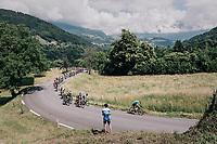 peloton up the first climb of the day: the Montée de Bisanne<br /> <br /> Stage 6: Frontenex > La Rosière Espace San Bernardo (110km)<br /> 70th Critérium du Dauphiné 2018 (2.UWT)