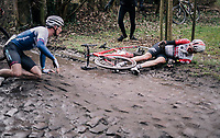 Brian van Goethem (NED/Lotto-Soudal) crashes hard on the rough, wet cobbles after Peter Williams (GBR/SwiftCarbon), ahead of him, slips to the ground<br /> <br /> 51th Le Samyn 2019 <br /> Quaregnon to Dour (BEL): 200km<br /> <br /> ©kramon