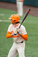 Tennessee Volunteers second baseman Max Ferguson (2) at bat against the LSU Tigers on Robert M. Lindsay Field at Lindsey Nelson Stadium on March 28, 2021, in Knoxville, Tennessee. (Danny Parker/Four Seam Images)